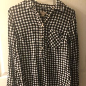 Black and white check button top size small